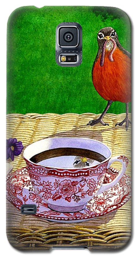 Robin Galaxy S5 Case featuring the painting Early Bird by Catherine G McElroy