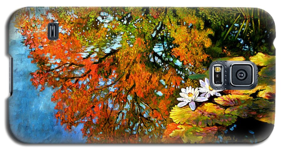Landscape Galaxy S5 Case featuring the painting Early Morning Fall Colors by John Lautermilch