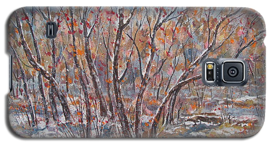 Landscape Galaxy S5 Case featuring the painting Early Snow. by Leonard Holland