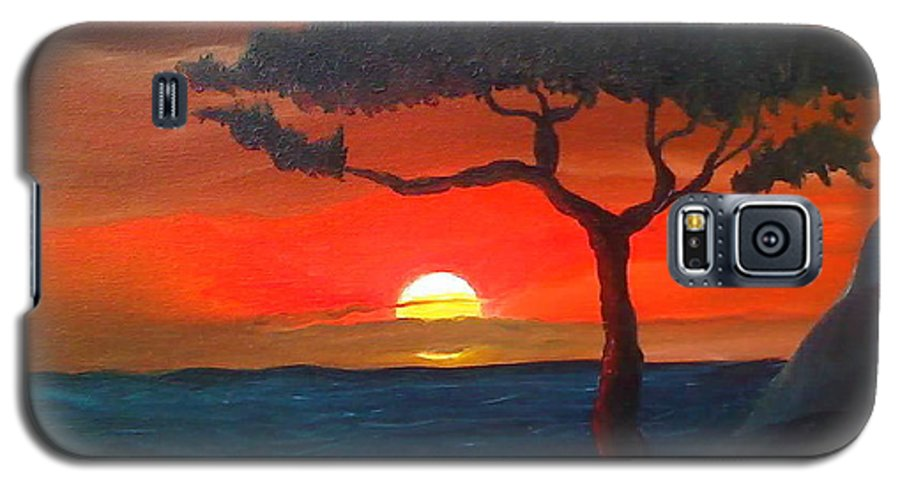Africa! Galaxy S5 Case featuring the painting East African Sunset by Portland Art Creations