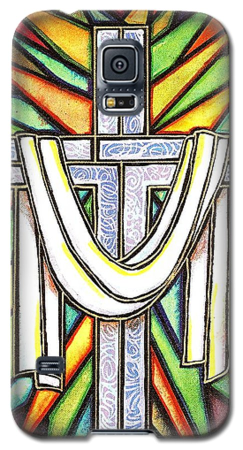 Cross Galaxy S5 Case featuring the painting Easter Cross 5 by Jim Harris