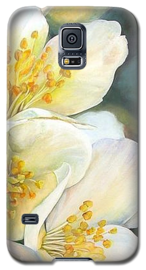 Floral Painting Galaxy S5 Case featuring the painting Eglantine by Muriel Dolemieux