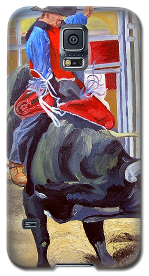 Bull Riding Galaxy S5 Case featuring the painting Eight Long Seconds by Michael Lee