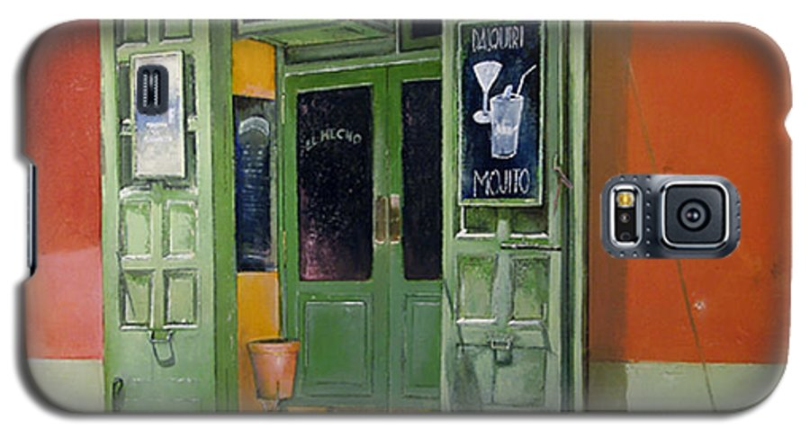 Hecho Galaxy S5 Case featuring the painting El Hecho Pub by Tomas Castano