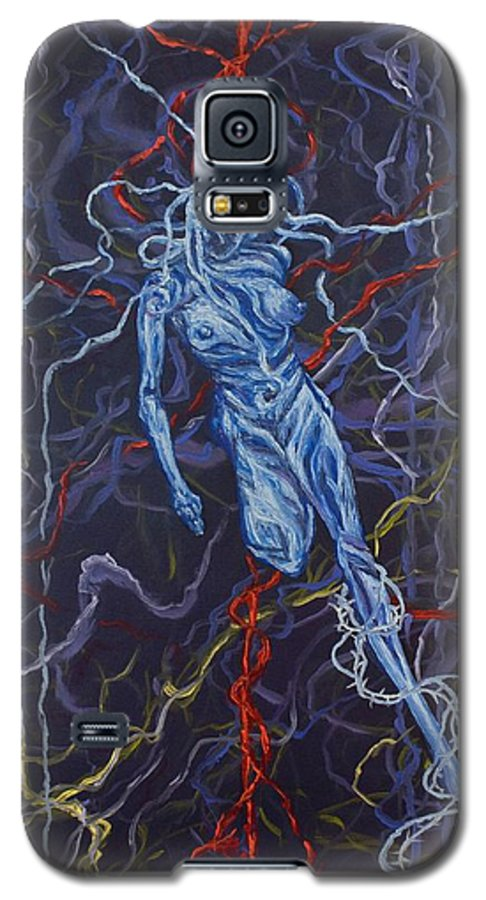 Pain Galaxy S5 Case featuring the painting Electric Pain by Judy Henninger
