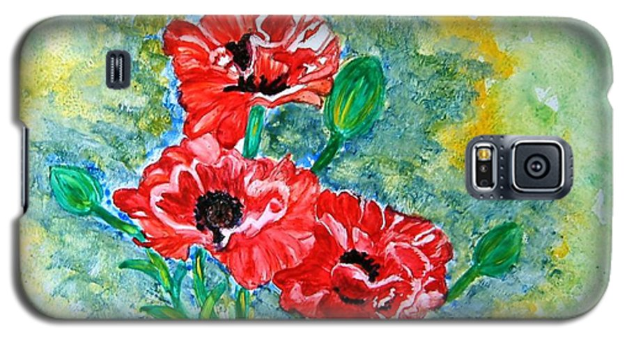 Poppies Flowers Red Yellow Green Blue Acrylic Watercolor Yupo Elegant Landscape Galaxy S5 Case featuring the painting Elegant Poppies by Manjiri Kanvinde