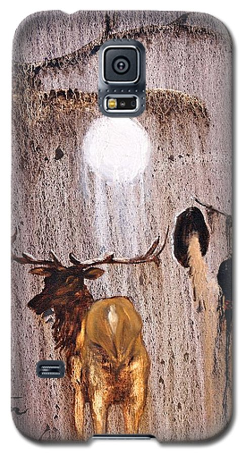 Native Art Galaxy S5 Case featuring the painting Elk Spirit by Patrick Trotter