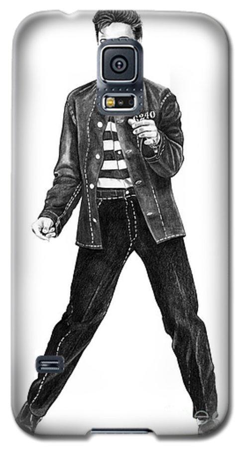 Elvis Galaxy S5 Case featuring the drawing Elvis Presley  by Murphy Elliott