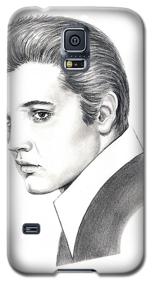 Pencil. Portrait Galaxy S5 Case featuring the drawing Elvis Presley by Murphy Elliott