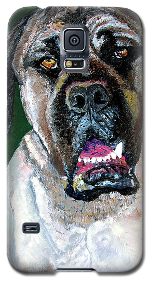 Dog Portrait Galaxy S5 Case featuring the painting Ely by Stan Hamilton