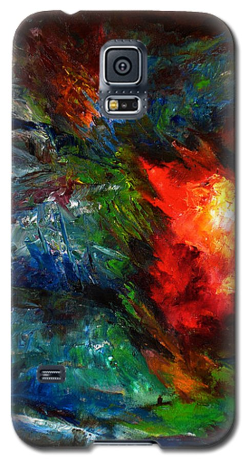 Abstract Galaxy S5 Case featuring the painting Embrace by Lou Ewers