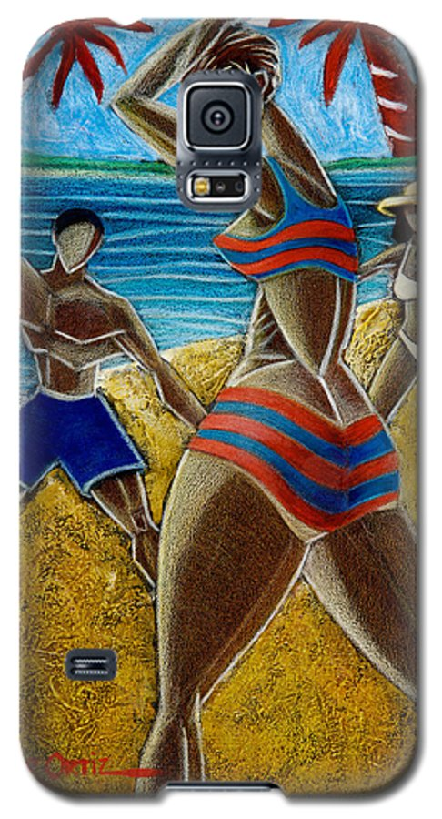 Beach Galaxy S5 Case featuring the painting En Luquillo Se Goza by Oscar Ortiz