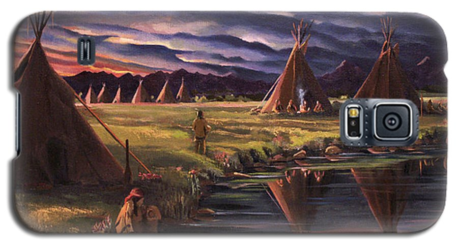 Native American Galaxy S5 Case featuring the painting Encampment At Dusk by Nancy Griswold