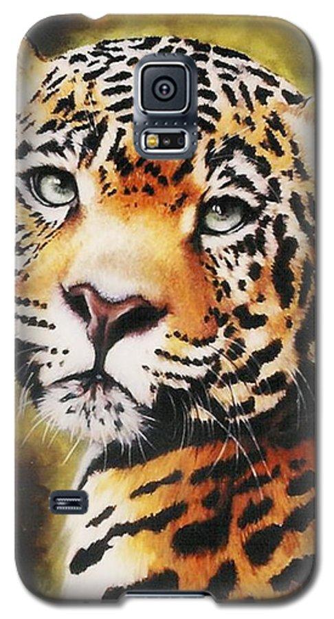 Jaguar Galaxy S5 Case featuring the pastel Enchantress by Barbara Keith
