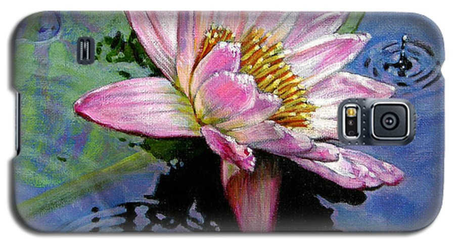 Water Lily Galaxy S5 Case featuring the painting End Of Summer Shower by John Lautermilch