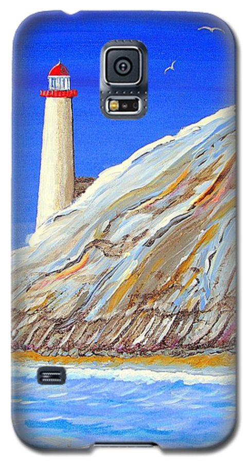 Lighthouse Galaxy S5 Case featuring the painting Entering The Harbor by J R Seymour