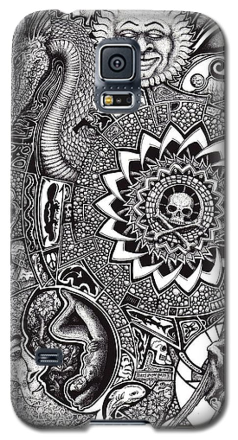 Black And White Galaxy S5 Case featuring the drawing Epiphany by Tobey Anderson