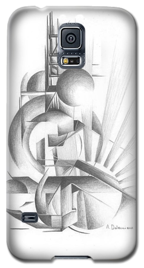 Abstract Galaxy S5 Case featuring the drawing Equilibre by Muriel Dolemieux