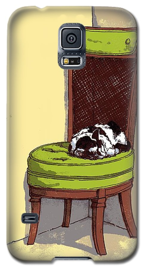 Cat Galaxy S5 Case featuring the drawing Ernie And Green Chair by Tobey Anderson