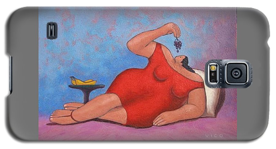 Acrylic Galaxy S5 Case featuring the painting Erotic Grapes by Vico Vico