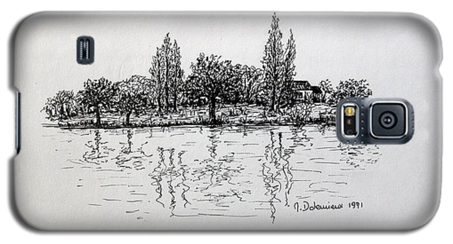 Landscape Galaxy S5 Case featuring the drawing Etang by Muriel Dolemieux