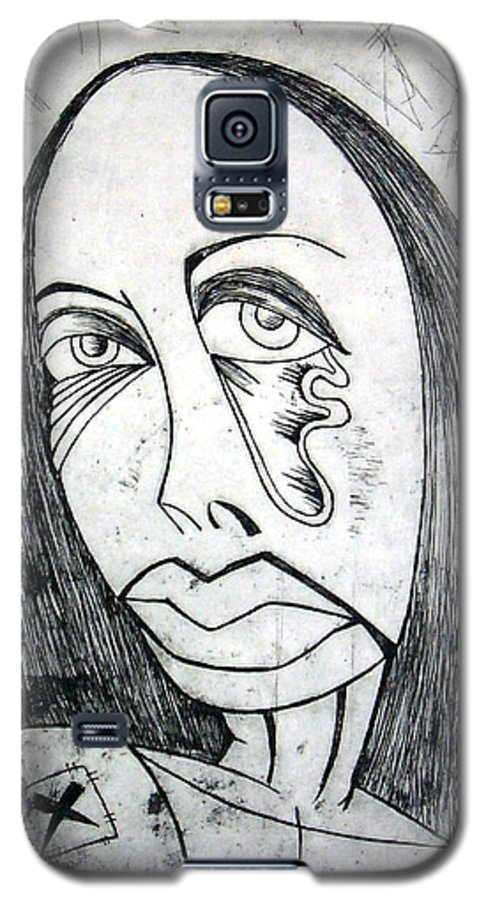 Girl Galaxy S5 Case featuring the print Etching by Thomas Valentine