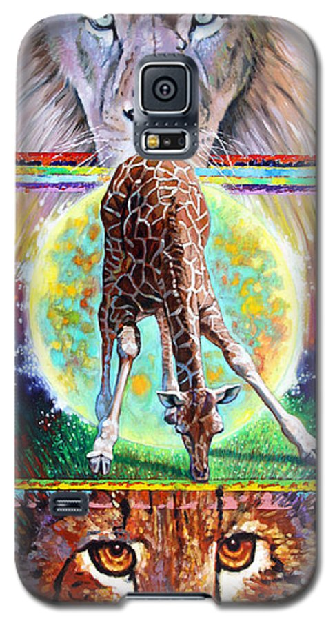 Lion Galaxy S5 Case featuring the painting Eternal Nature Of Our Universe by John Lautermilch