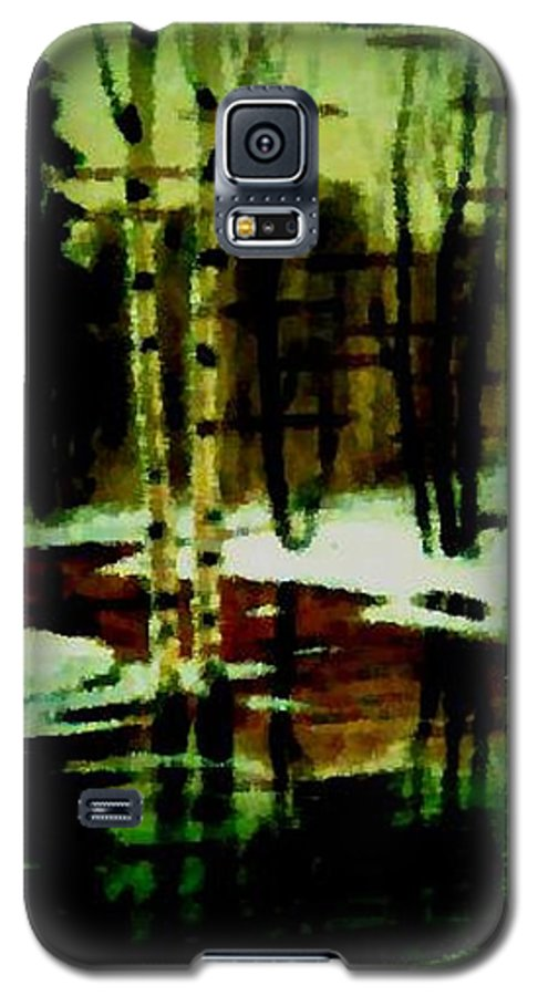 Sprig.forest.snow.water.trees.birches. Puddles.sky.reflection. Galaxy S5 Case featuring the digital art European Spring by Dr Loifer Vladimir