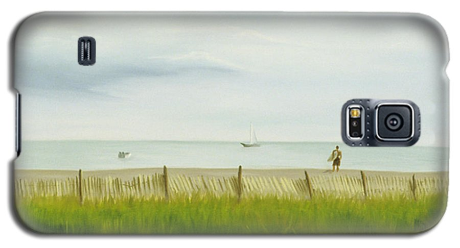 Seascape Galaxy S5 Case featuring the painting Evening At Cape May by Lea Novak