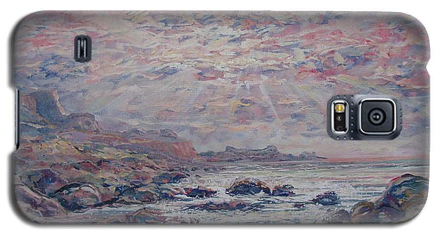 Seascape Galaxy S5 Case featuring the painting Evening At The Beach by Leonard Holland