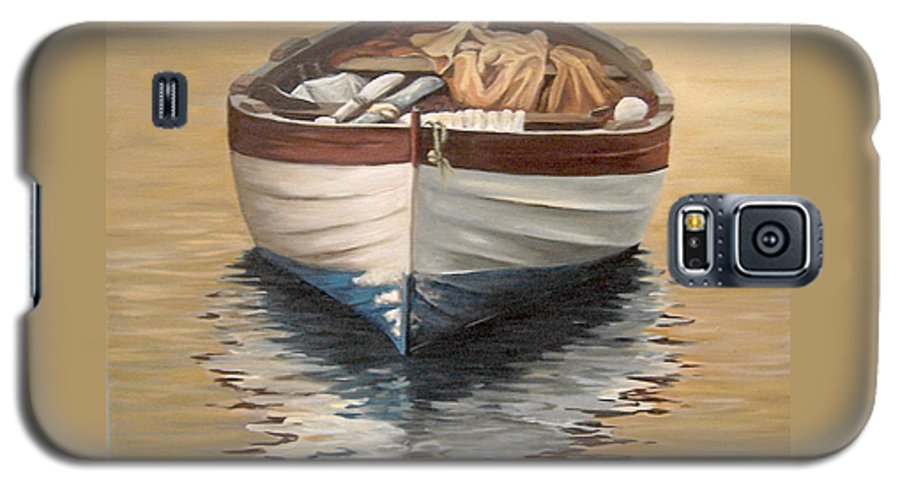 Boats Reflection Seascape Water Galaxy S5 Case featuring the painting Evening Boat by Natalia Tejera
