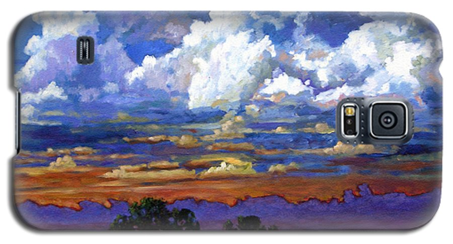 Landscape Galaxy S5 Case featuring the painting Evening Clouds Over The Prairie by John Lautermilch