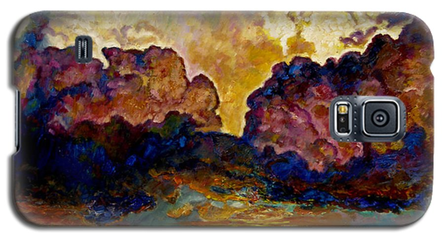 Sunset Galaxy S5 Case featuring the painting Evening Clouds Over The Valley by John Lautermilch