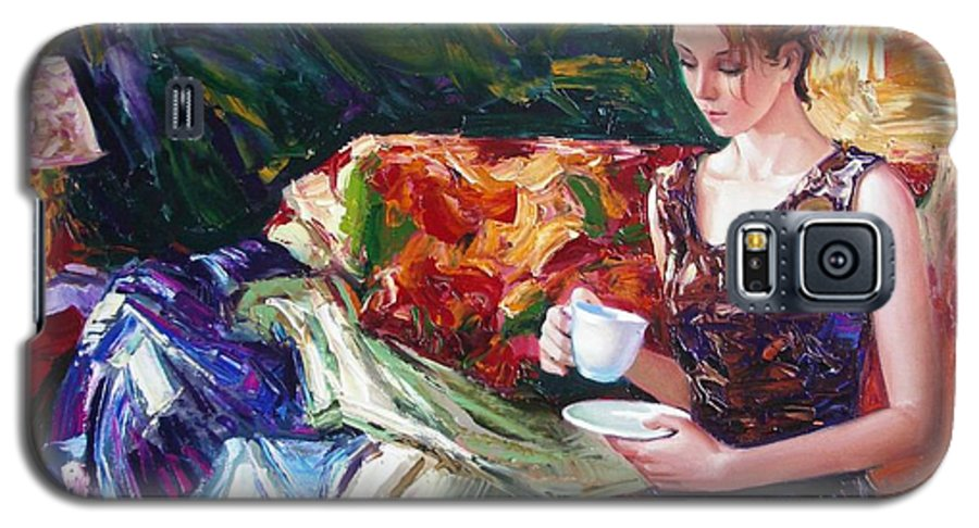 Figurative Galaxy S5 Case featuring the painting Evening Coffee by Sergey Ignatenko
