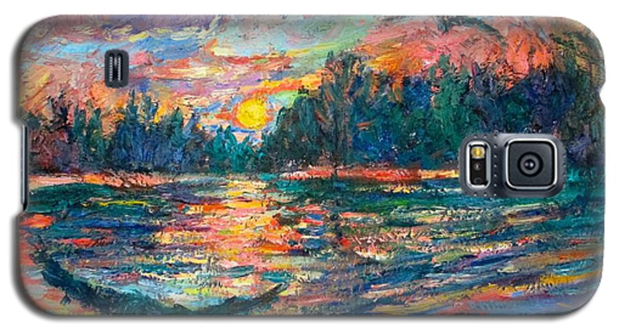 Landscape Galaxy S5 Case featuring the painting Evening Flight by Kendall Kessler