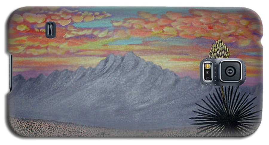 Desertscape Galaxy S5 Case featuring the painting Evening In The Desert by Marco Morales