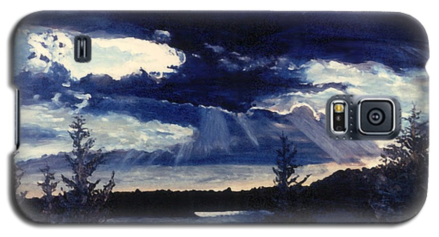 Landscape Galaxy S5 Case featuring the painting Evening Lake by Steve Karol