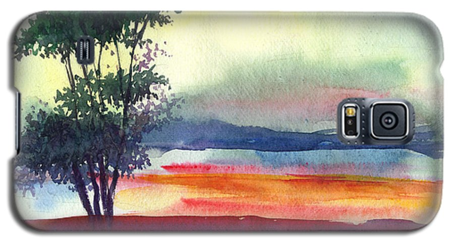 Water Color Galaxy S5 Case featuring the painting Evening Lights by Anil Nene
