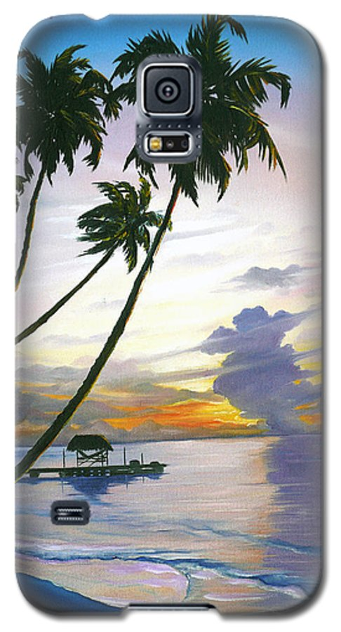Ocean Painting Seascape Painting Beach Painting Sunset Painting Tropical Painting Tropical Painting Palm Tree Painting Tobago Painting Caribbean Painting Original Oil Of The Sun Setting Over Pigeon Point Tobago Galaxy S5 Case featuring the painting Eventide Tobago by Karin Dawn Kelshall- Best