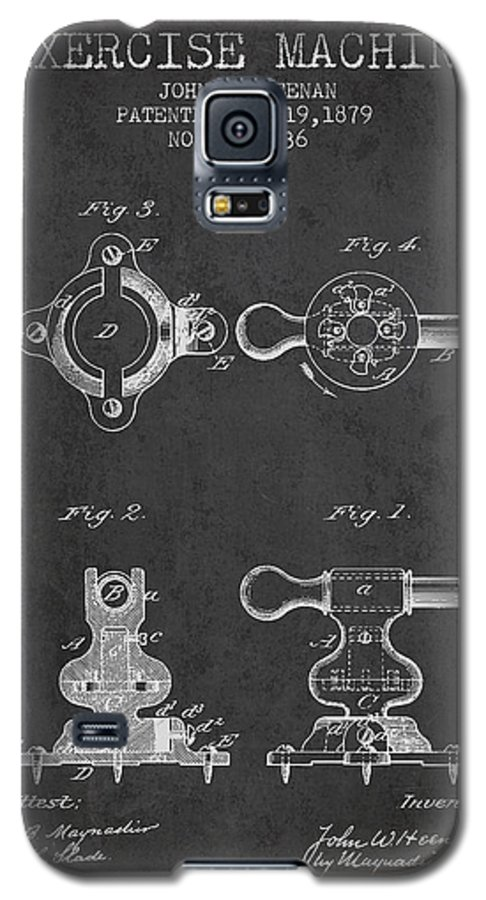 Exercise Galaxy S5 Case featuring the digital art Exercise Machine Patent From 1879 - Charcoal by Aged Pixel