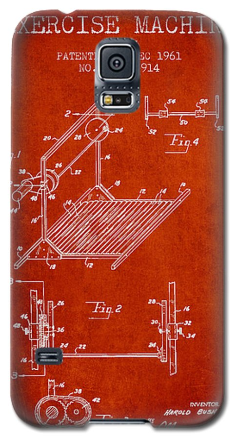 Exercise Galaxy S5 Case featuring the digital art Exercise Machine Patent From 1961 - Red by Aged Pixel
