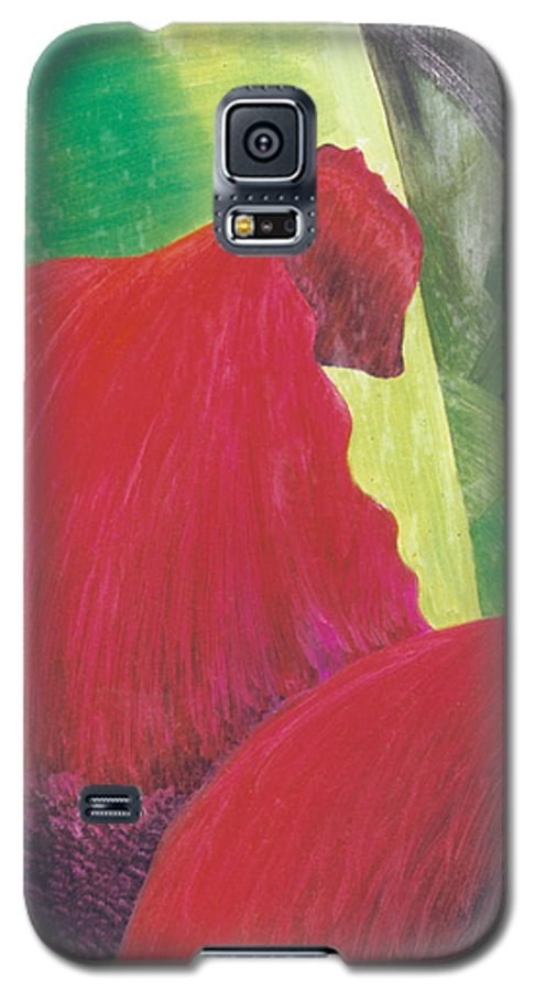 Red Galaxy S5 Case featuring the painting Expectations by Christina Rahm Galanis