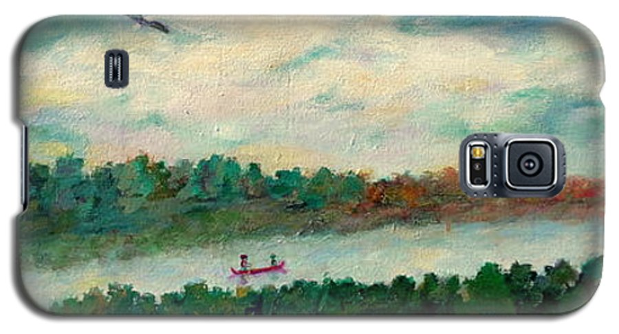 Canoeing On The Big Canadian Lakes Galaxy S5 Case featuring the painting Exploring Our Lake by Naomi Gerrard