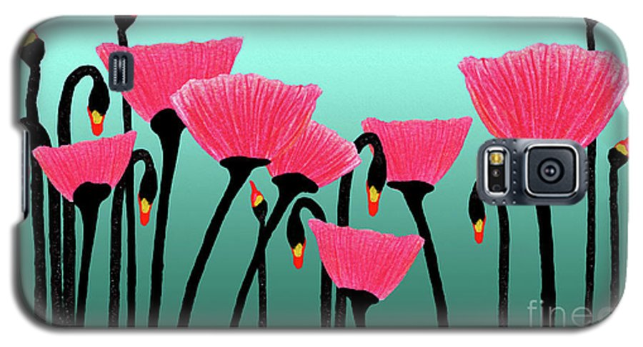 Bloom Galaxy S5 Case featuring the photograph Expressive Red Pink Green Poppy Painting Y1a by Ricardos Creations