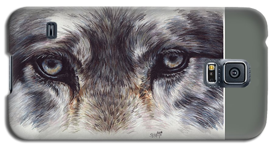 Wolf Galaxy S5 Case featuring the painting Eye-catching Wolf by Barbara Keith