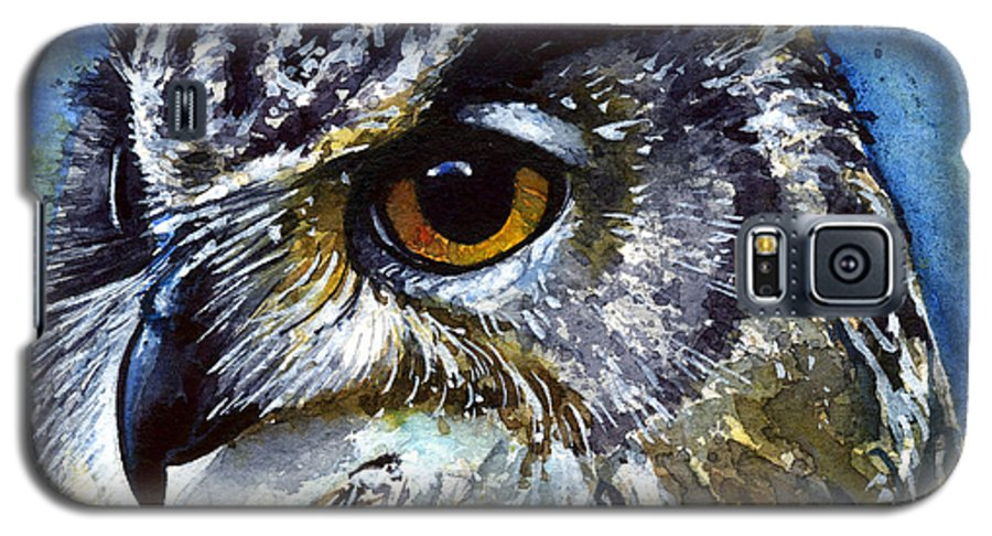 Owls Galaxy S5 Case featuring the painting Eyes Of Owls No.25 by John D Benson