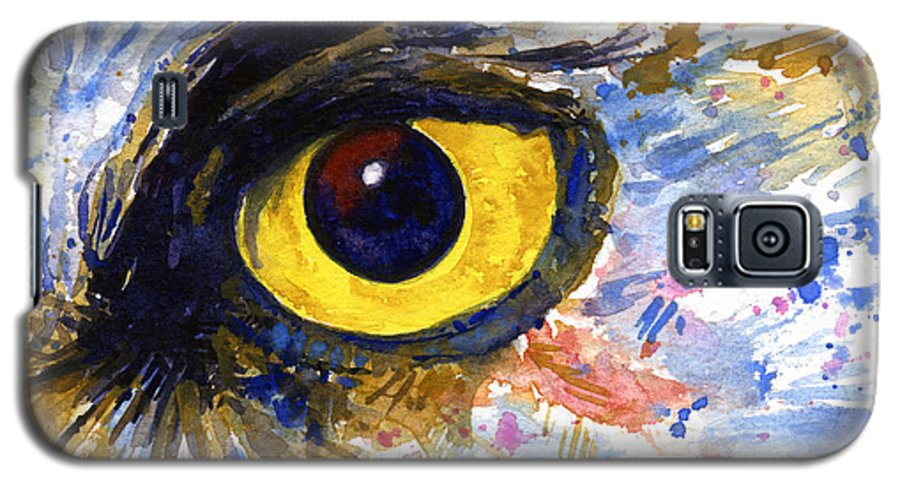 Owls Galaxy S5 Case featuring the painting Eyes Of Owl's No.6 by John D Benson