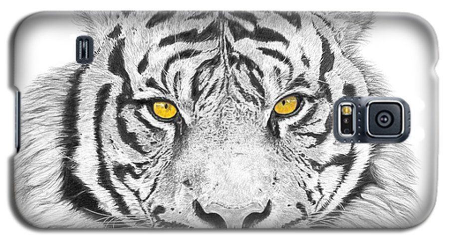 Tiger Galaxy S5 Case featuring the drawing Eyes Of The Tiger by Shawn Stallings