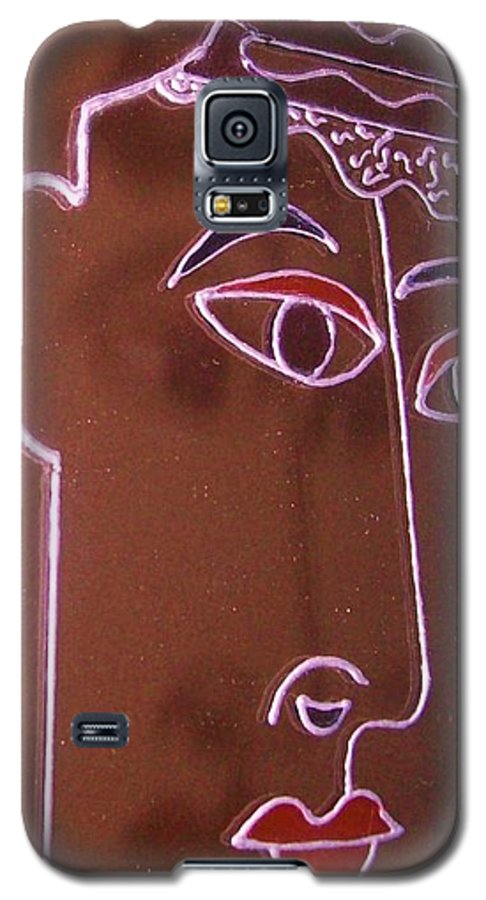 Faces Galaxy S5 Case featuring the painting Faces And Alphabets by Sylvia Hanna Dahdal