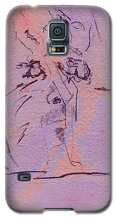 Abstract Galaxy S5 Case featuring the mixed media Faces Of Trivia by Steve Karol